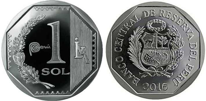 Peruvian 1 sol coin since 2016
