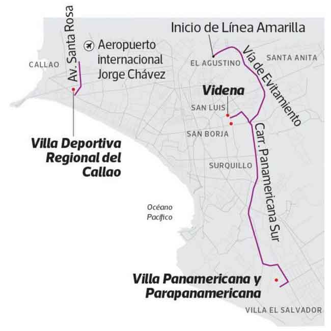 Lima 2019 24/7 purple lane exclusively used for the transport of athletes