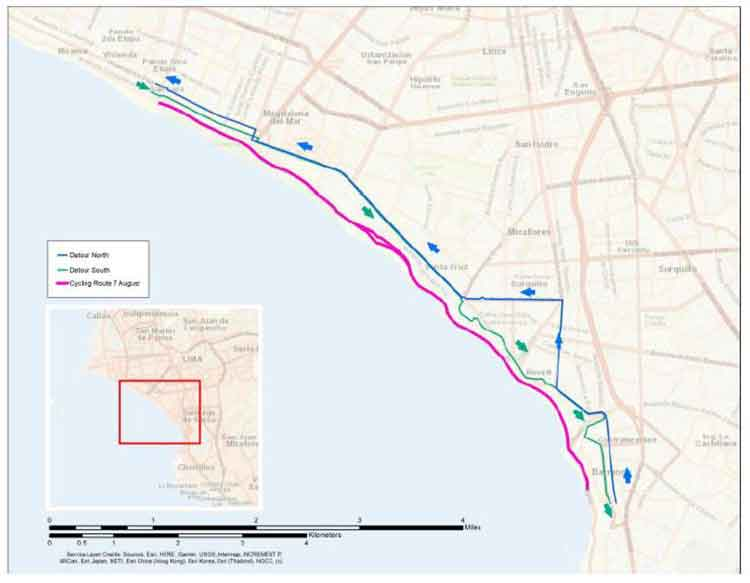 Pan American Games closure of Costa Verde in Lima due to cycling events