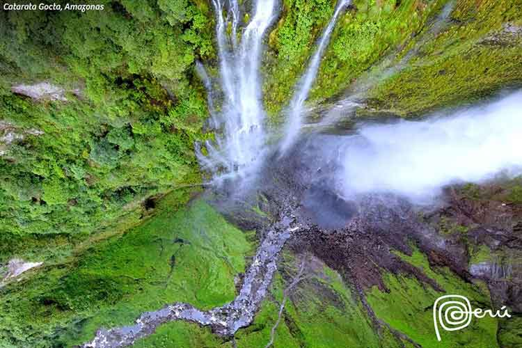 gocta falls from above peru