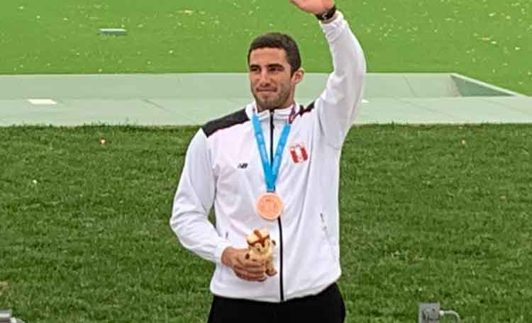 Lima 2019 Peruvian Nicolas Pacheco wins another bronze medal for Peru in the men's skeet shooting