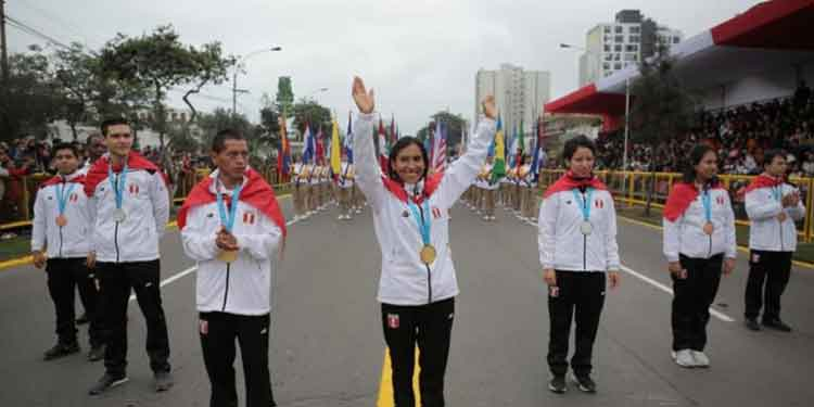 peruvian pan am medalists participate in the great military parade july 29 2019