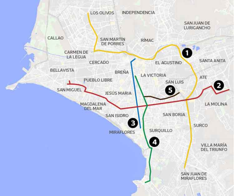 Map of Lima showing the five main traffic axes where license plate restrictions apply