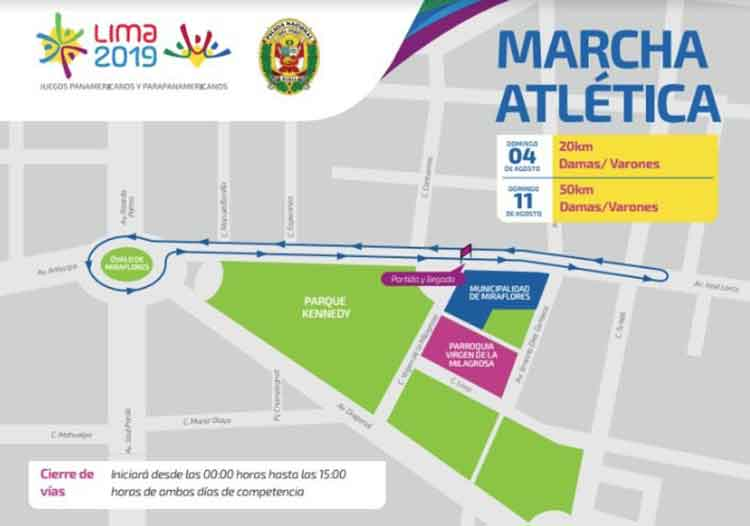 Pan American Games in Lima walking event august 4 and 11 road closures