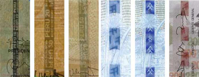 security stripe peruvian banknotes