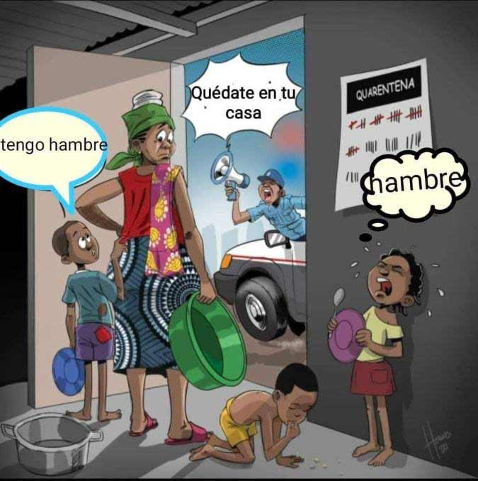 Peruvian caricature stay home even if your kids cry for food