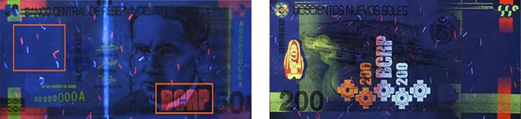 fluorescent features peruvian banknotes