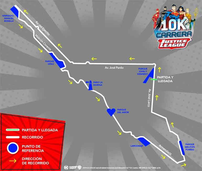 10k run justice league map lima peru 2019
