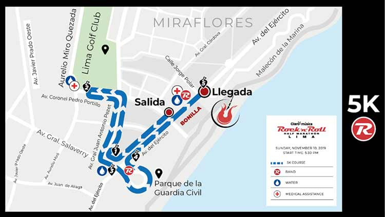 claro rocknroll run lima map 5k course