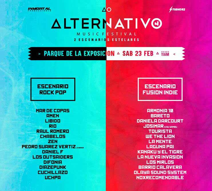 line up artists alternativo music festival 4 2019