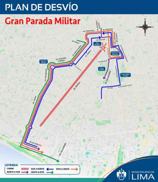 The Great Military Parade for Fiestas Patrias in Lima 2019 runs 32 blocks along Av. Brazil between Plaza Bolognesi in Breña and Magdalena del Mar