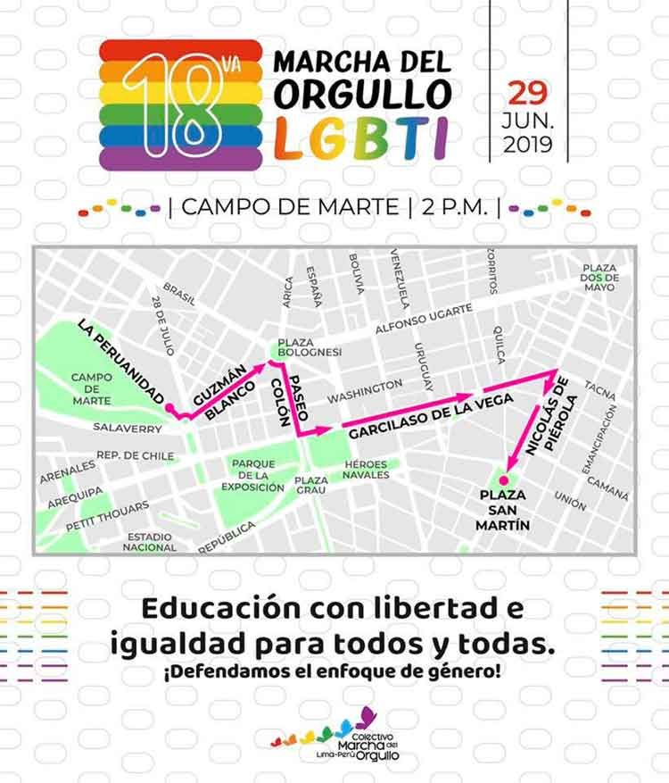 route gay pride parade lima 2019