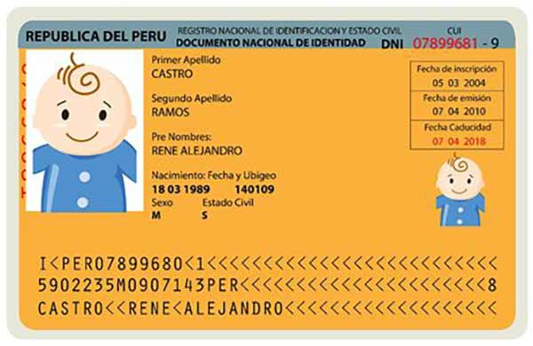dni minor national identity card for children peru