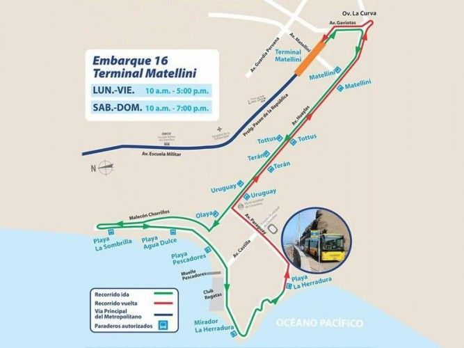 From December 29th 2016 the Metropolitano bus runs again for the summer months from Chorrillos down to the Costa Verde to the beaches of Barranco and Chorrillos