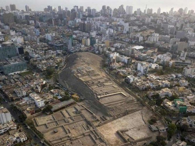 The ancient Huaca Pucllana in Miraflores, Lima surrounded by modern residences; photo: AP