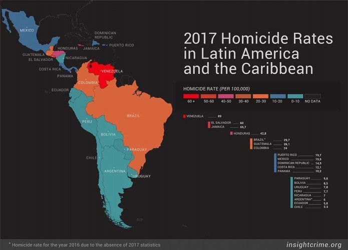 Homicide rates in Latin America and the Caribbean 2017; map: InSight Crime