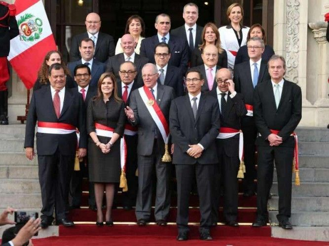 Peruvian President Pedro Pablo Kuczynski's new cabinet as of September 17, 2017; photo: Andina
