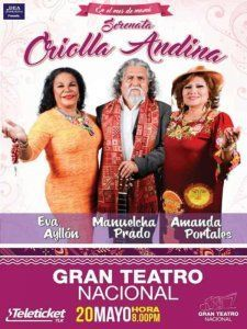 Eva Ayllon, Manuelcha Prado and Amanda Portales together on stage for the Serenata Criolla Andina in Lima