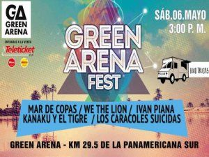 Enjoy a great afternoon and evening with live music on the beach at the Green Arena Fest south of Lima