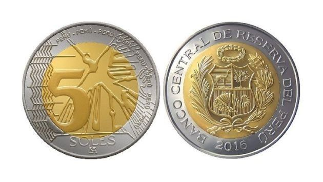 The Central Reserve Bank puts a new S/. 5 coin into circulation
