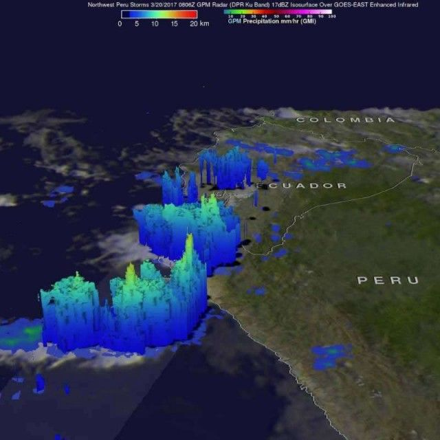 NASA monitors and analyzes the extreme rainfalls in Peru